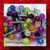 »»» 3er SET BUNTE UV ZUNGENPIERCING GLITTER BALL 1336