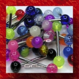 »»» 3er SET BUNTE UV ZUNGENPIERCING GLOW DARK 1337
