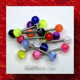 »»» 3er SET BUNTE UV ZUNGENPIERCING MARMOR 2655