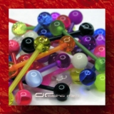 »»» 3er SET BUNTE UV FLEXI ZUNGENPIERCING GLOW DARK 2661