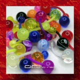 »»» 3er SET BUNTE UV FLEXI BAUCHPIERCING GLOW DARK 2663