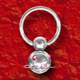 ��� CRYSTAL BALL STAHL BCR PIERCING RING rosa 5088