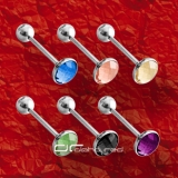 »»» 6er SET STAHL ZUNGENPIERCING FACET CUT KRISTALL 8280