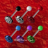 »»» 6er SET ZEBRA SHAPE ZUNGENPIERCING RUND 8304