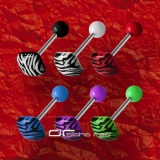 »»» 6er SET ZEBRA SHAPE ZUNGENPIERCING SQUARE 8305