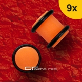 »»» 9er DEHNUNGSSET NEON ACRYL OHR PLUG PIERCING orange 1,6-10 mm 8372