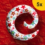»»» 5er DEHNUNGSSET COLOUR STAR EXPANDER SPIRALE OHRPIERCING 4-10 mm 8628